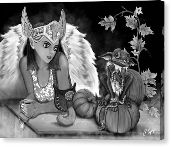 Let Me Explain - Black And White Fantasy Art Canvas Print
