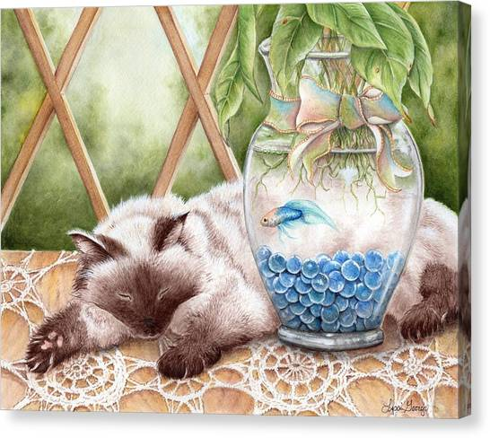 Himalayan Cats Canvas Print - Let Sleeping Cats Lie by Lisa George