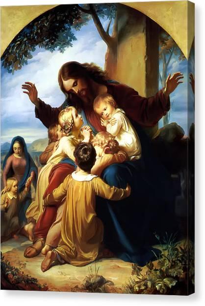 Child Canvas Print - Let The Children Come To Me by Carl Vogel von Vogelstein