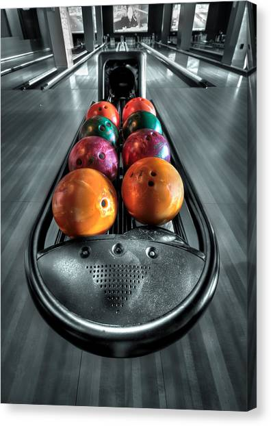 Bowling Alley Canvas Print - Let The Good Times Roll by Evelina Kremsdorf