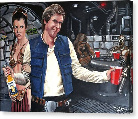 Han Solo Canvas Print - Let The Wookie Win by Tom Carlton