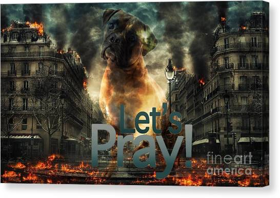 Canvas Print featuring the digital art Let Us Pray-2 by Kathy Tarochione