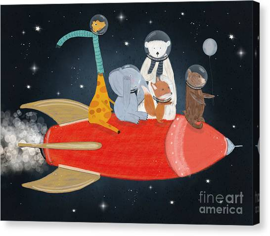 Space Ships Canvas Print - Lets All Go To The Moon by Bri Buckley