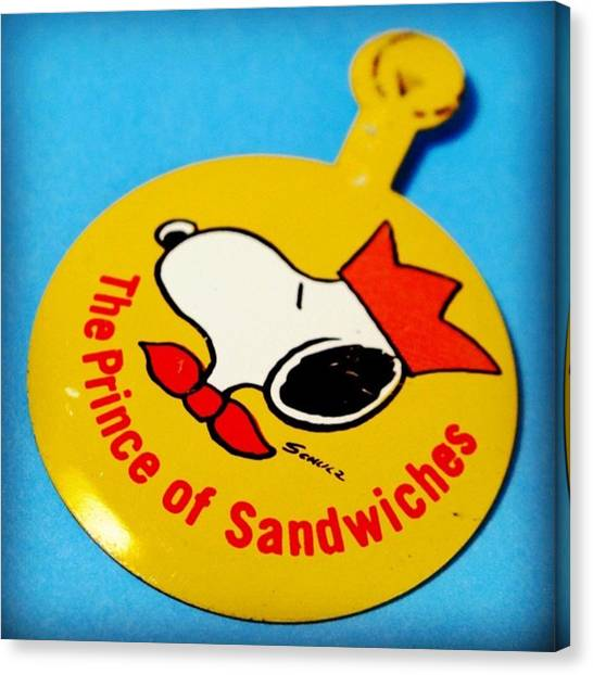 Sandwich Canvas Print - Let's Do Lunch! #snoopy #peanuts by Caren Pilgrim