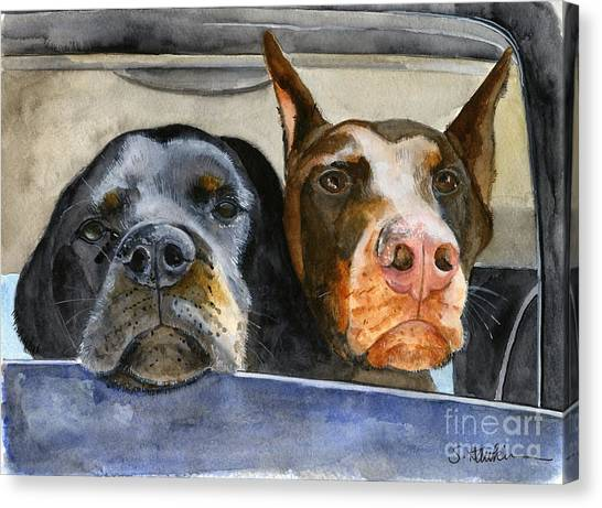 Rottweilers Canvas Print - Let's Go For A Ride by Sheryl Heatherly Hawkins