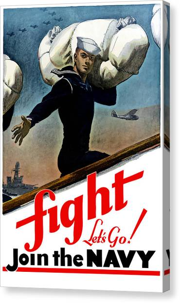 Battleship Canvas Print - Let's Go Join The Navy by War Is Hell Store