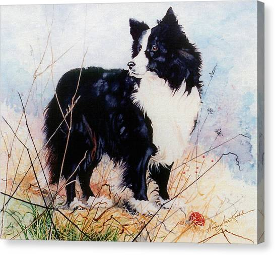 Watercolor Pet Portraits Canvas Print - Let's Play Ball by Hanne Lore Koehler