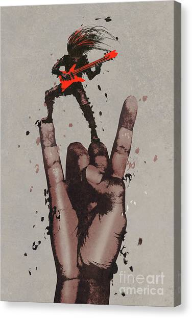 Canvas Print featuring the painting Let's Rock by Tithi Luadthong