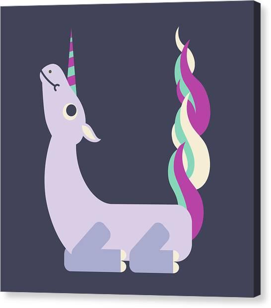 Letter U - Animal Alphabet - Unicorn Monogram Canvas Print