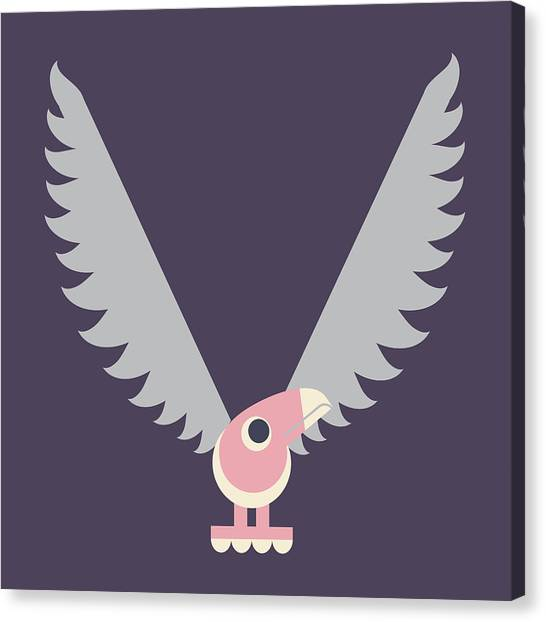Letter V - Animal Alphabet - Vulture Monogram Canvas Print