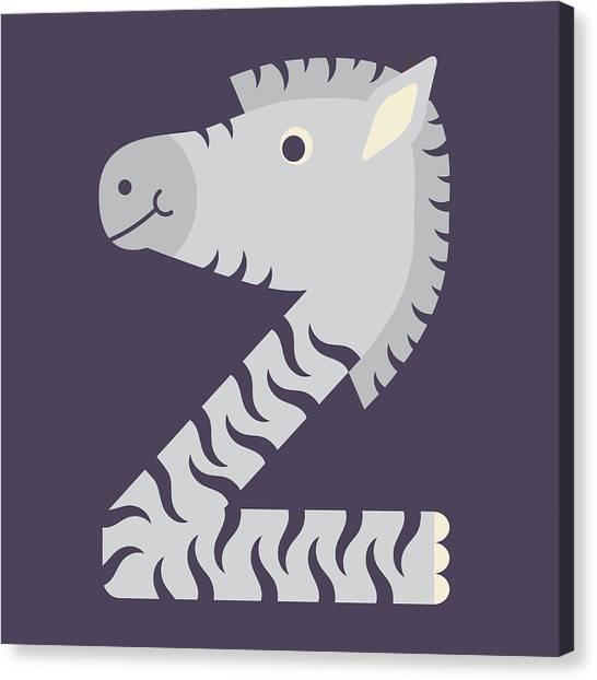 Letter Z - Animal Alphabet - Zebra Monogram Canvas Print