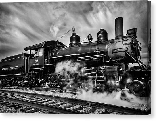Steam Trains Canvas Print - Letting Off Steam Black And White by Garry Gay