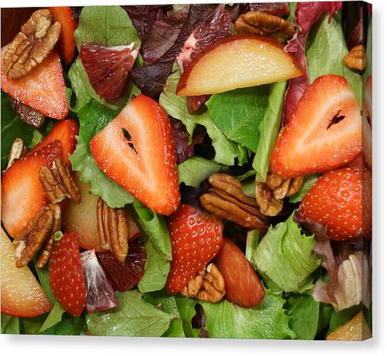 Lettuce Strawberry Plum Salad Canvas Print