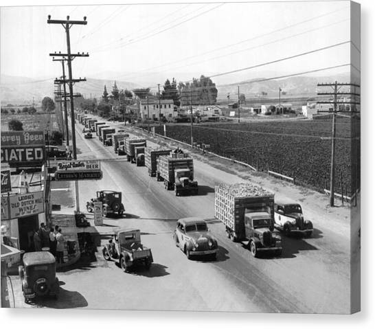 Police Officers Canvas Print - Lettuce Truck Armed Escorts by Underwood Archives