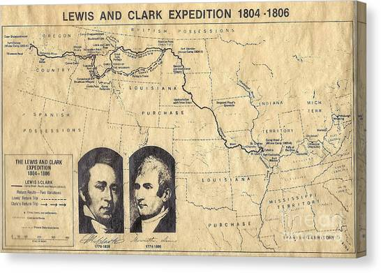 Lewis And Clark Expedition Map Canvas Print