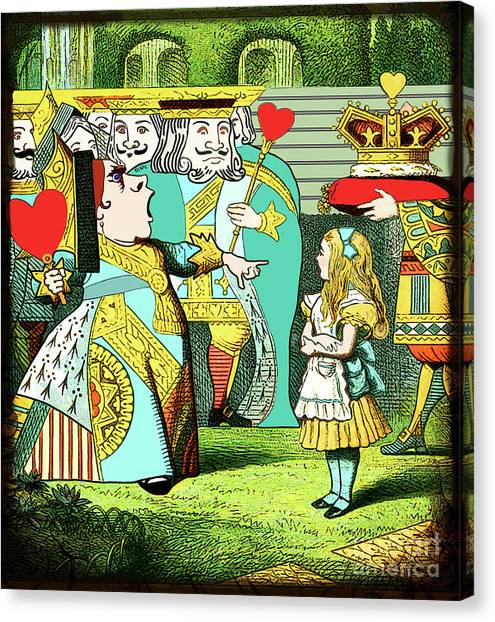 Canvas Print featuring the painting Lewis Carrolls Alice, Red Queen And Cards by Marian Cates
