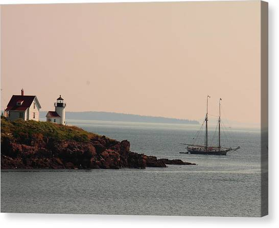 Lewis R French At The Curtis Island Lighthouse Canvas Print