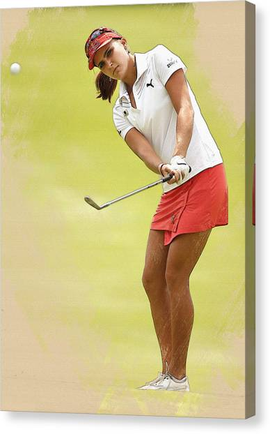 Lexi Thompson Chips To The First Green  Canvas Print