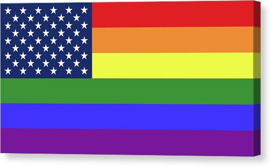Rainbow Six Canvas Print - Lgbt Pride Flag With Star Field From Us Flag by Peter Hermes Furian