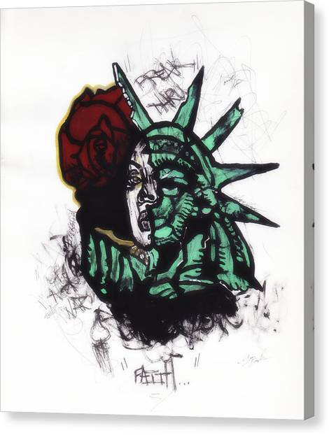 Statue Of Liberty Canvas Print - Liberate  by Sour Demire