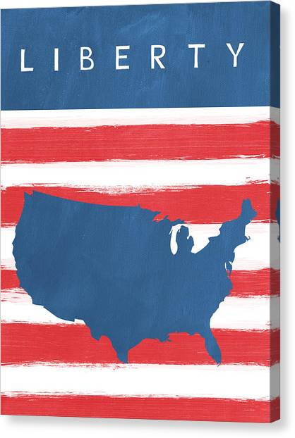 Flags Canvas Print - Liberty by Linda Woods