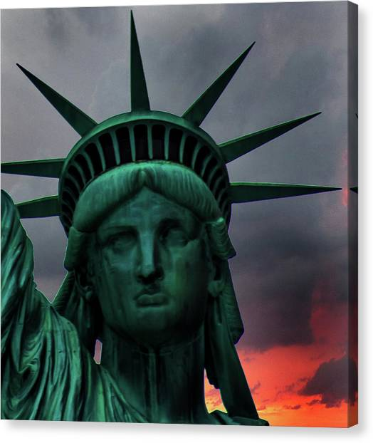 Immigration Canvas Print - Liberty Sunset by Martin Newman