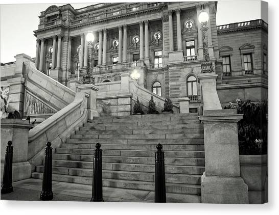 Library Of Congress In Black And White Canvas Print