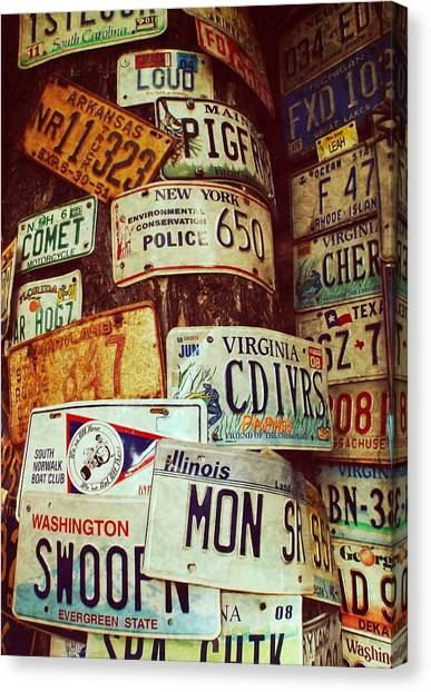 License Plate Canvas Print by JAMART Photography