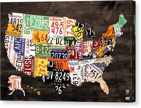 Map Canvas Print - License Plate Map Of The United States - Warm Colors / Black Edition by Design Turnpike