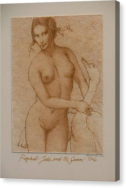 Lida And The Swan After Raphael Canvas Print by Gary Kaemmer
