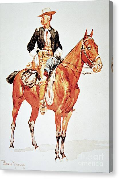 Signature Canvas Print - Lieutenant S C Robertson, Chief Of The Crow Scouts by Frederic Remington