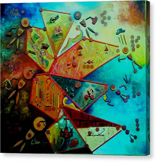 Canvas Print featuring the painting Life Cycle 1 by Ray Khalife