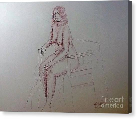 Life Drawing Nude Lady Canvas Print