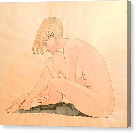 Life Drawing Watercolor Canvas Print by Fred Jinkins