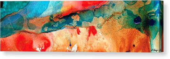 Primary Canvas Print - Life Eternal Red And Green Abstract by Sharon Cummings