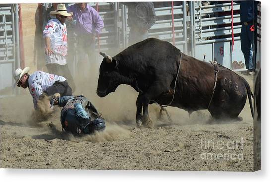 Bull Riding Canvas Print - Life In The Extreme 7 by Bob Christopher