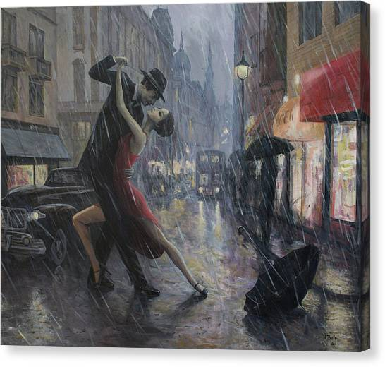 Tango Canvas Print - Life Is A Dance In The Rain by Adrian Borda