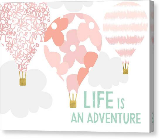 Hot Air Balloons Canvas Print - Life Is An Adventure Pink- Art By Linda Woods by Linda Woods