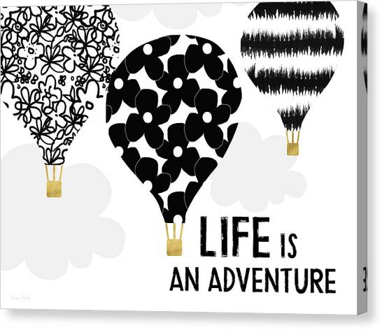 Balloons Canvas Print - Life Is An Aventure Hot Air Balloon- Art By Linda Woods by Linda Woods