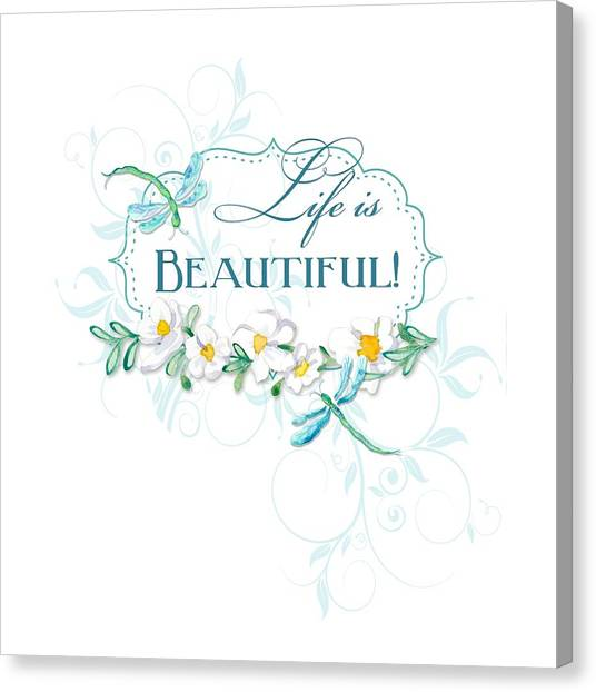Simple Canvas Print - Life Is Beautiful - Dragonflies N Daisies W Leaf Swirls N Dots by Audrey Jeanne Roberts