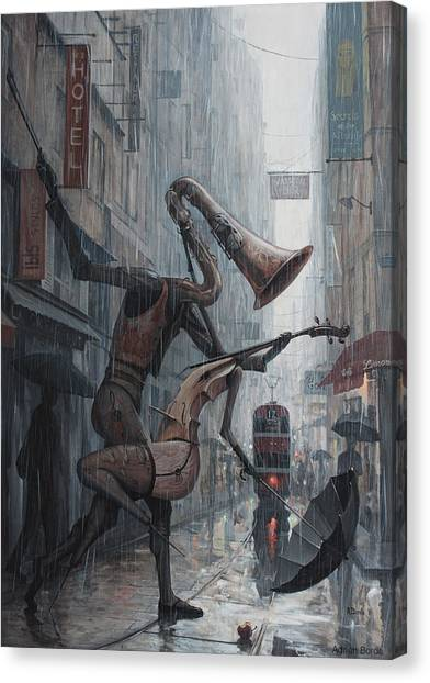 Saxophone Canvas Print - Life Is  Dance In The Rain by Adrian Borda