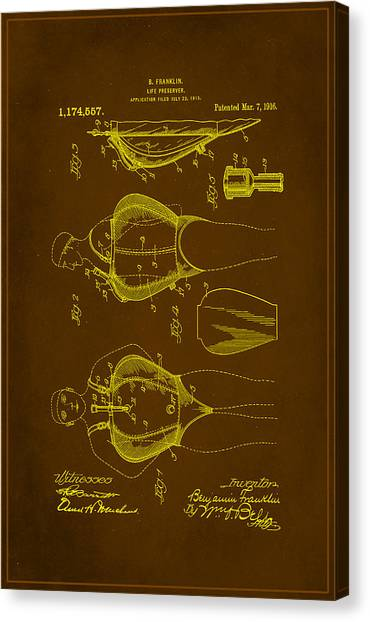 Ben Franklin Canvas Print - Life Preserver Patent Drawing 1b by Brian Reaves