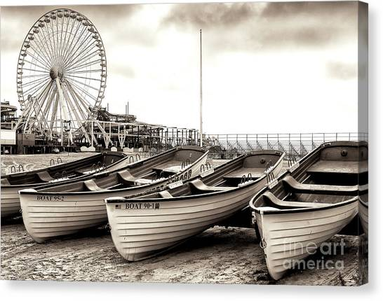 Lifeguard Canvas Print - Lifeguard Boats At Wildwood by John Rizzuto