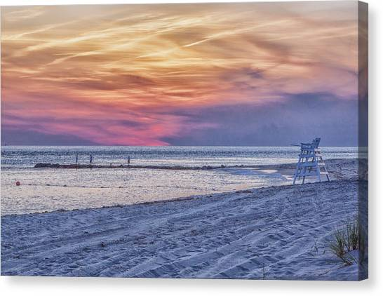 Lifeguard Chair At Sunset Canvas Print