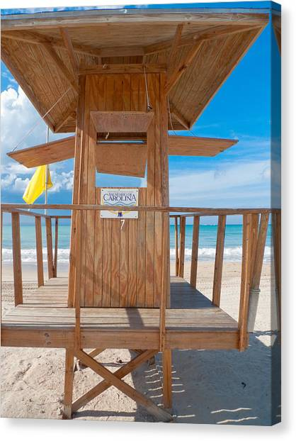 Lifeguard Hut On The Beach Canvas Print by George Oze