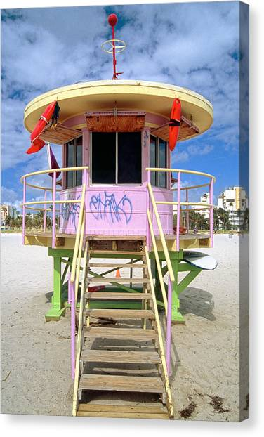 Lifeguard Station South Beach Miami  Florida Canvas Print by George Oze