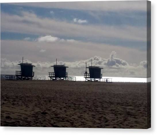 Venice Beach Canvas Print - Lifeguard Towers On Venice Beach by Sin Lanchester