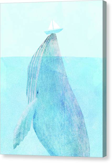 Blue Whales Canvas Print - Lift Option by Eric Fan