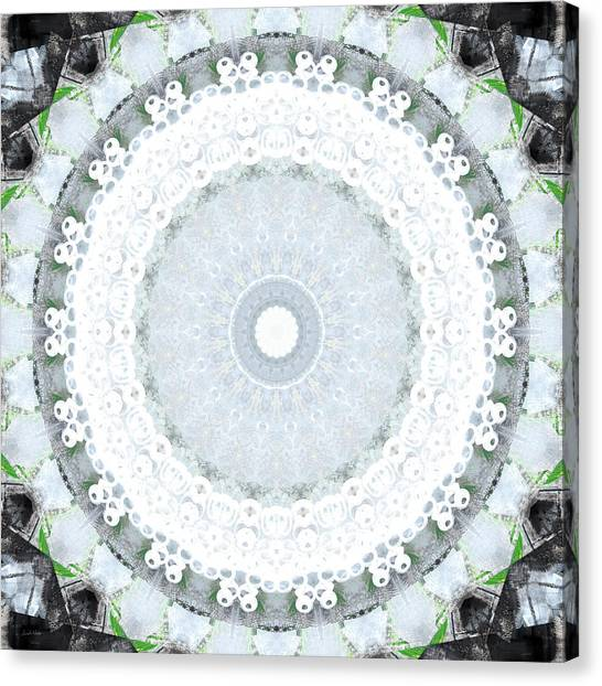 Fractal Canvas Print - Light Blue Mandala- Art By Linda Woods by Linda Woods