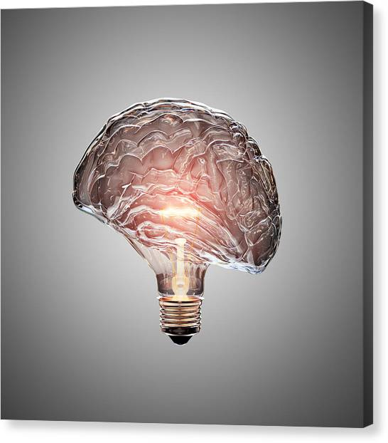 Brain Canvas Print - Light Bulb Brain by Johan Swanepoel
